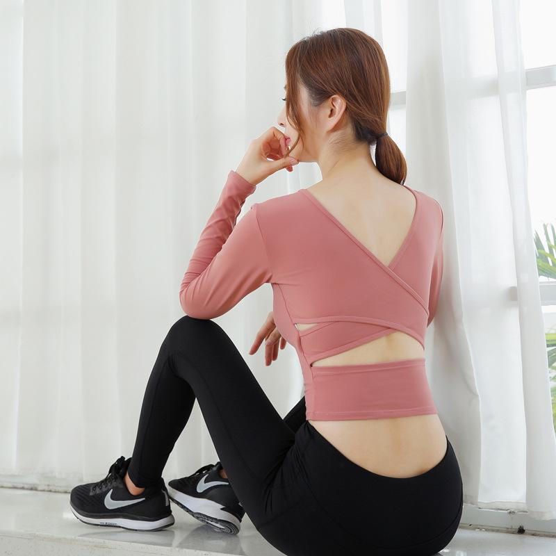 JIAJIA Áo thun mau khô 2020 Quần áo Yoga mới Áo thể thao nữ Áo dài tay nữ Quần áo thể dục skinny Quầ