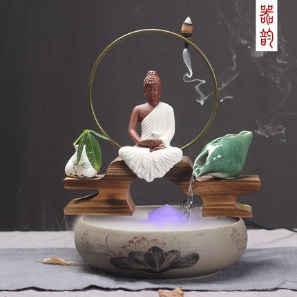 Yuzhutang Đồ trang trí bằng gỗ Đồ gốm sáng tạo nhỏ bằng gỗ Sha Mi Jiang Taigong phòng khách văn phòn