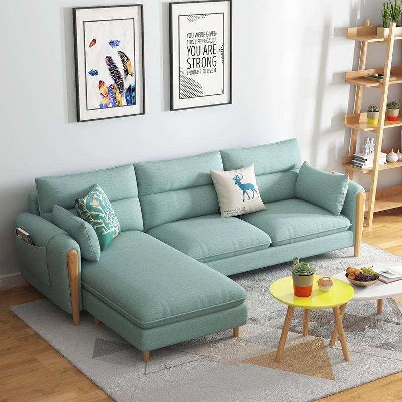 QIANCHENG thị trường nội thất , đèn Sofa vải Bắc Âu hiện đại tối giản căn hộ nhỏ ngân sách căn hộ di