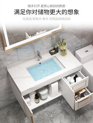 Tủ phòng tắm Bắc Âu thông minh gương phòng tắm kết hợp hiện đại tối giản chậu rửa tủ ánh sáng sang t