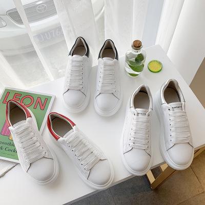 giày bánh mì / giày Platform Giày da dày đế dày màu trắng nữ 2020 mùa xuân mới Học sinh Hàn Quốc hoa