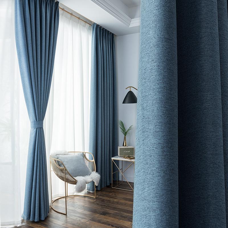 rèm cửa sổ Rèm nhung mịn màu rèm Bắc Âu đơn giản vải che nắng Rèm vải cotton hiện đại cho phòng khác