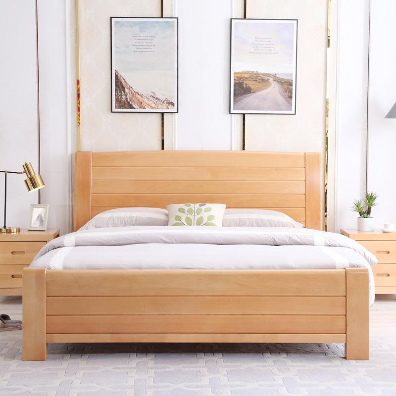 JINCHANG thị trường nội thất , đèn Tất cả giường gỗ nguyên khối gỗ sồi đôi đăng nhập 1 mét 8 phòng n