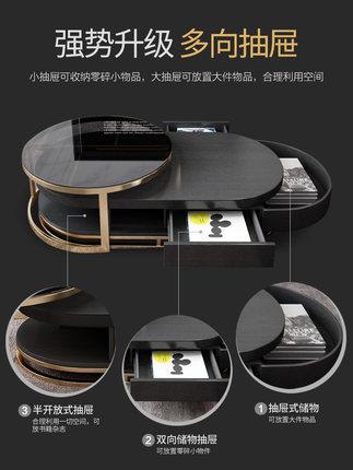Bàn trà Hiện đại tối giản ánh sáng sang trọng hình bầu dục bàn cà phê TV tủ kết hợp phòng khách sáng