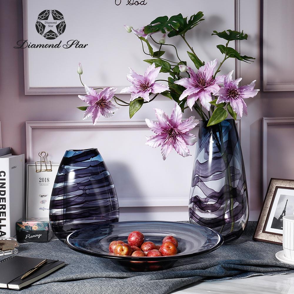 ZUANSHIXING Bình bông Diamond Star Blown Glass Rich Tre Vase Nghệ thuật hiện đại Hoa sắp xếp Màu tra