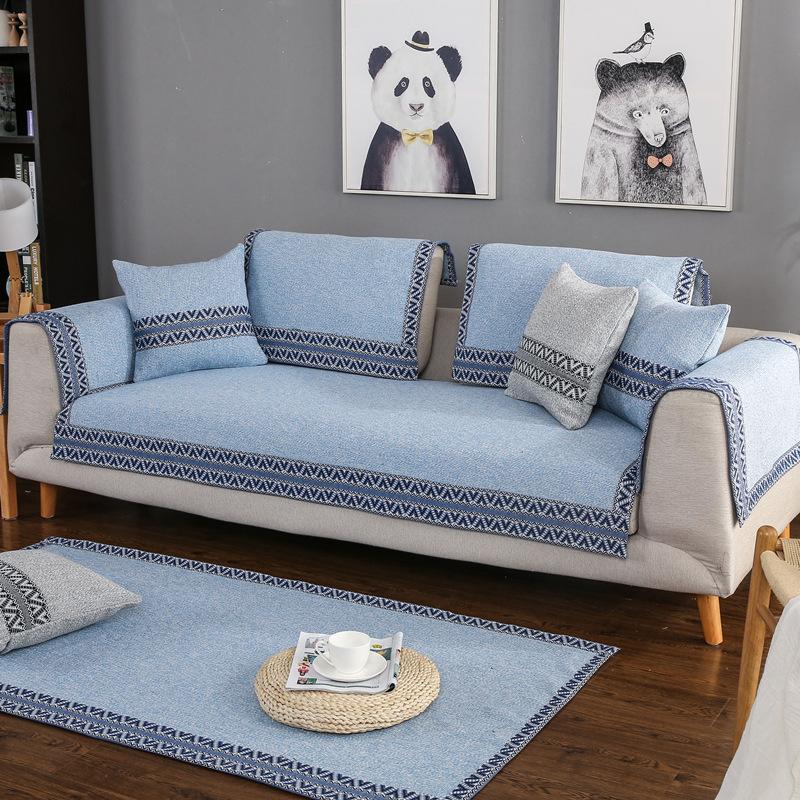 Đệm lót SoFa Nhà máy cung cấp vải lanh sofa đệm màu rắn vải sofa chống trượt bốn mùa bông chủ đề bọc