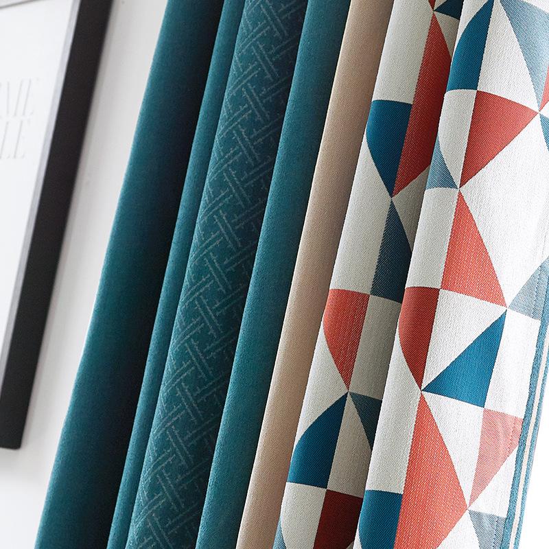 BUTEMEI rèm cửa sổ Rèm cửa đặc biệt kiểu Bắc Âu, rèm vải khảm hình học lanh, rèm cửa thiết kế nội th