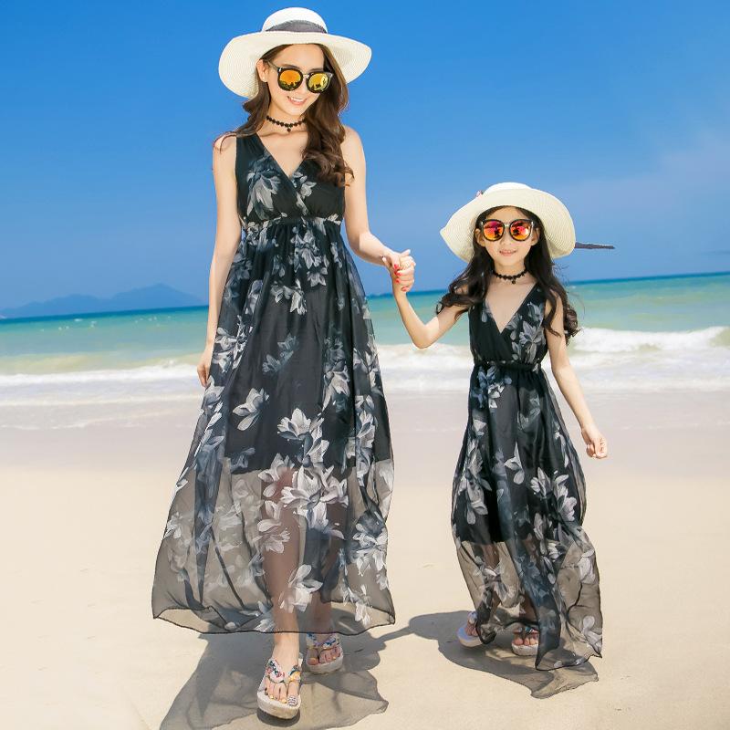 Yuehai Yuebei Áo thun gia đình Women's Beach Váy Váy đi biển bên bờ biển dành cho phụ huynh-trẻ em