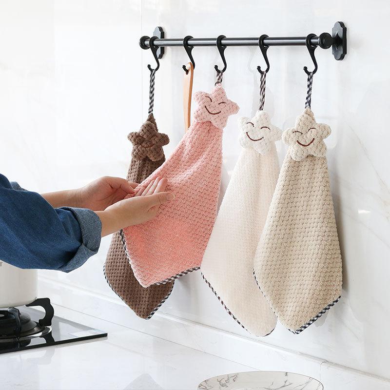 YOUFEN khăn lau tay Khăn lông cừu có thể được treo dày khăn lau bát đĩa Việc nhà làm sạch khăn nhà b