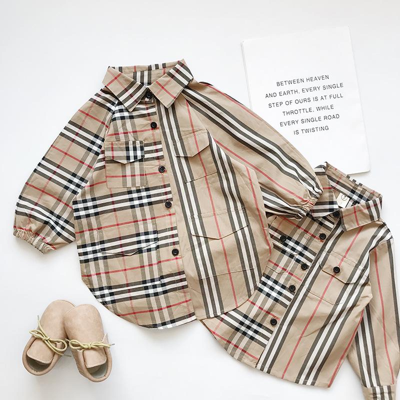 MENGDANGDANG Mai Dola 19 mùa thu mới cho trẻ em cởi quần áo trẻ em sơ mi kẻ sọc dài tay 53303