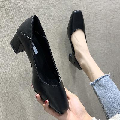RUANTING Giày da một lớp 2020 mùa xuân mới đôi giày đơn nữ giày cao gót và giày cao gót vuông đầu gi