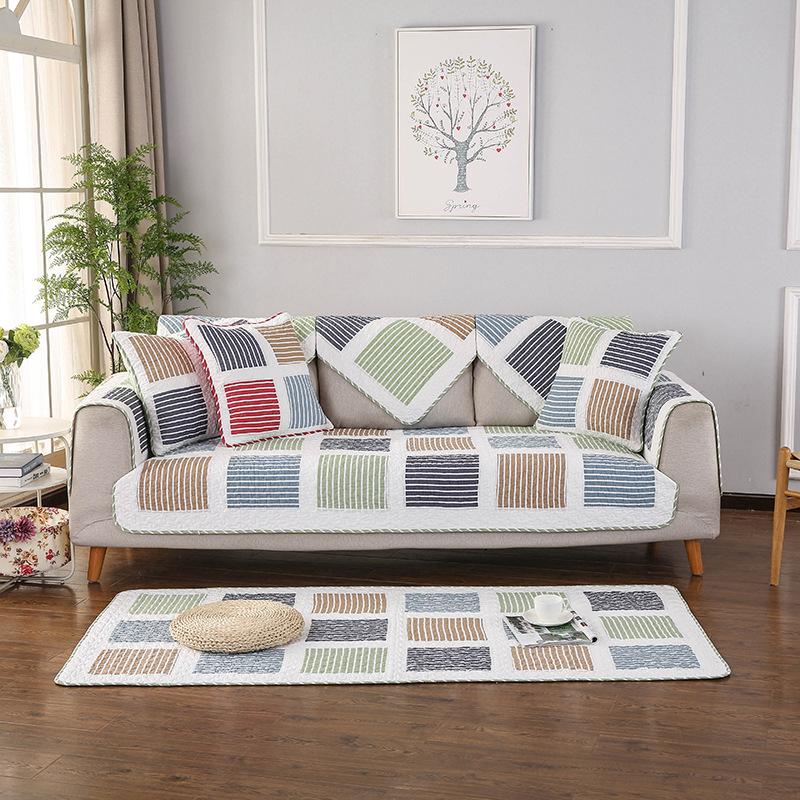 Đệm lót SoFa Phiên bản tiếng Hàn của bộ đệm sofa sọc mới bốn mùa cotton nhỏ đệm tươi thương mại nước