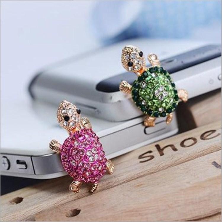 Nút cắm chống bụi Phiên bản Hàn Quốc của chú rùa nhỏ dễ thương với kim cương Samsung Apple cắm điện