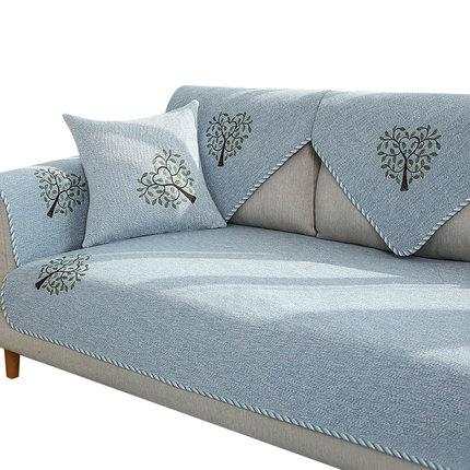 Đệm lót SoFa Sofa đệm bốn mùa phổ vải da chống trượt cotton và vải lanh ba chỗ đệm Bắc Âu phong cách