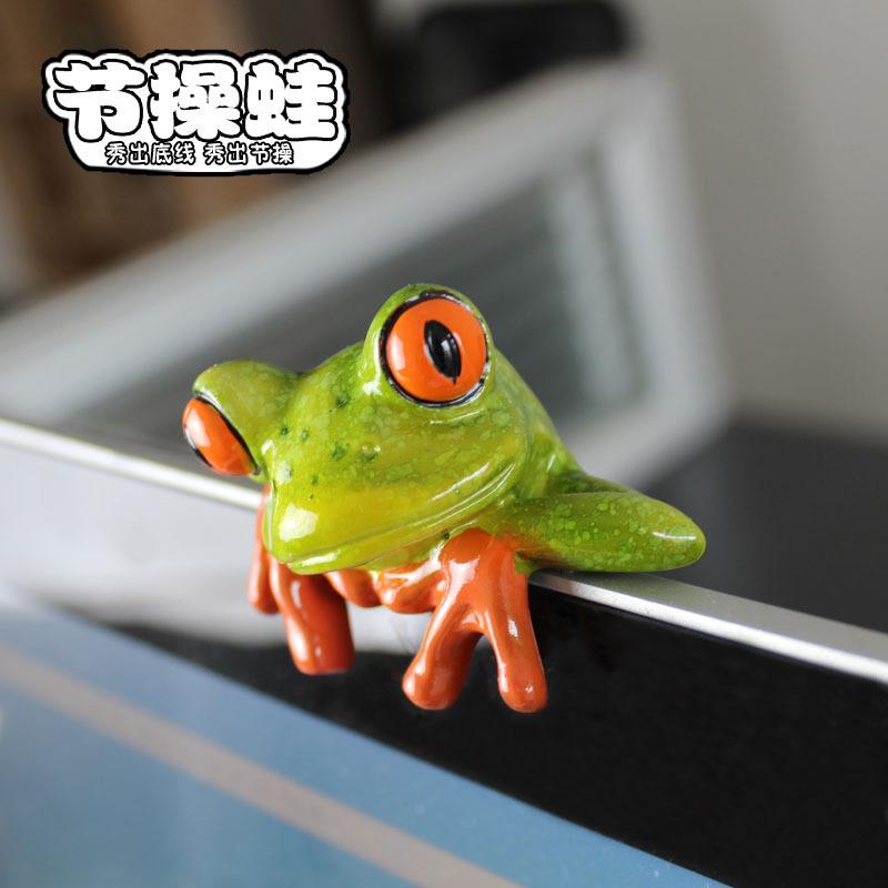 JIECAOWA Đồ trang trí bằng cao su Lễ hội ếch nhà máy bán hàng trực tiếp nhựa thủ công máy tính trang