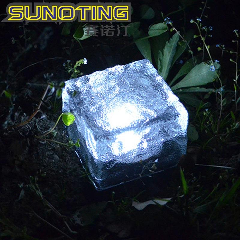 Sunoting Đèn âm đất Năng lượng mặt trời ngoài trời LED Ice Flower Ngói ánh sáng ngầm Cỏ ánh sáng Vườ