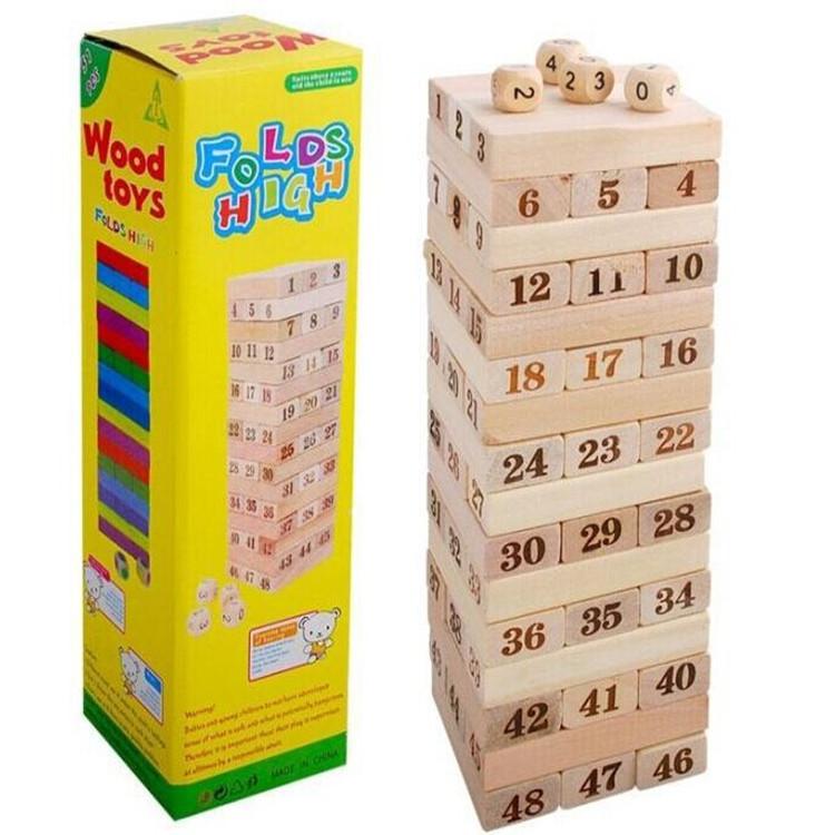 QIAOYING Đồ chơi bằng gỗ 48 khối nhật ký DDG nhiều lớp kỹ thuật số xếp chồng lên nhau Đồ chơi bằng g