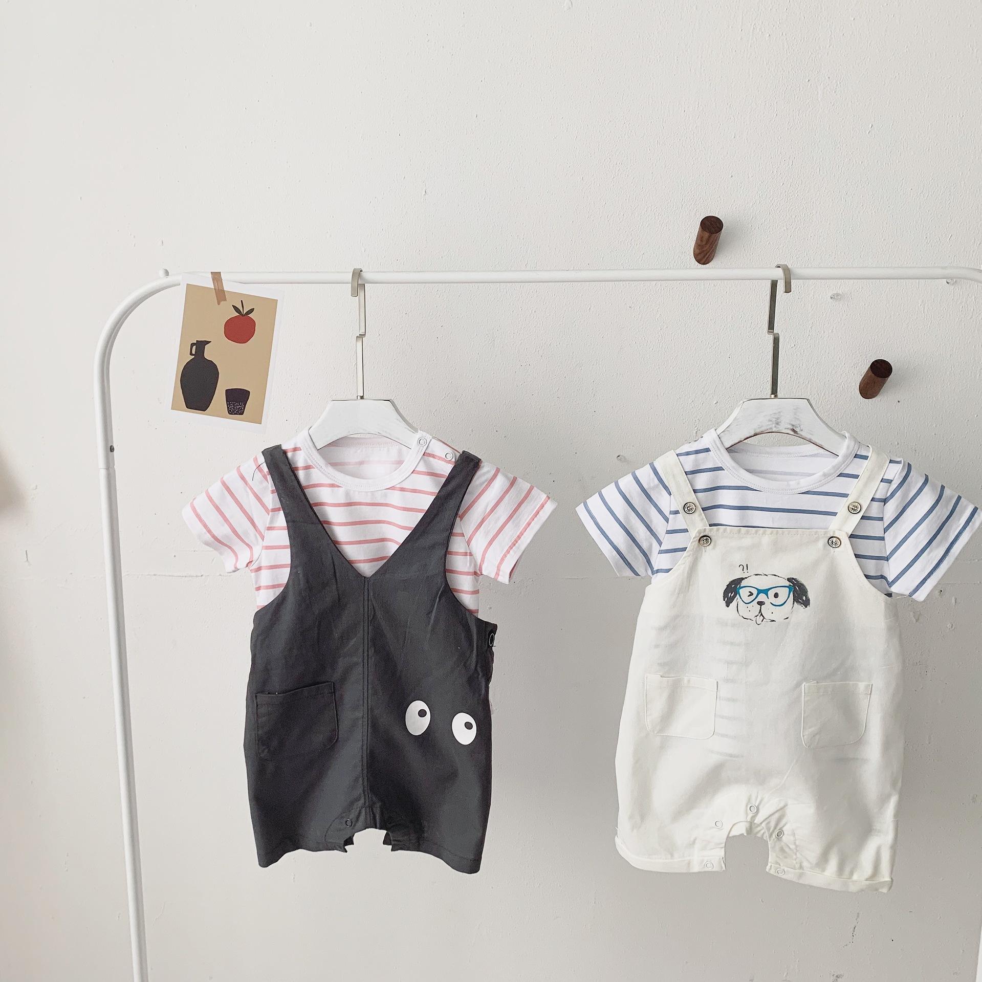 HHBE Đồ Suits trẻ em Bé trai và bé gái hè mới Quần áo trẻ em Hàn Quốc Áo thun cotton sọc bé + quần b