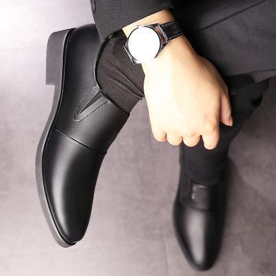Giày da QPQ mùa xuân giày nam mới kinh doanh giày da nam giày mũi nhọn thấp xu hướng giày đơn