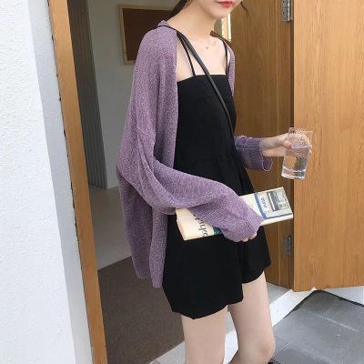 Áo khoác Cardigan Áo len nữ màu trơn phiên bản Hàn Quốc mùa hè dài tay dệt kim áo chống nắng cardiga