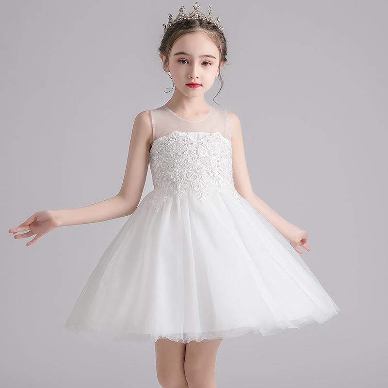 OUYA Trang phục dạ hôi trẻ em Quần áo trẻ em 2020 mùa xuân và mùa hè cô gái công chúa váy trắng trẻ