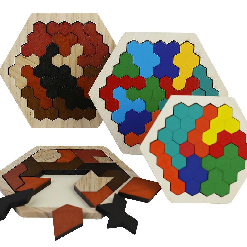 QIJIU Xếp hình 3D bằng gỗ Đồ chơi giáo dục bằng gỗ ghép hình tổ ong lớp mẫu giáo trường tiểu học sin