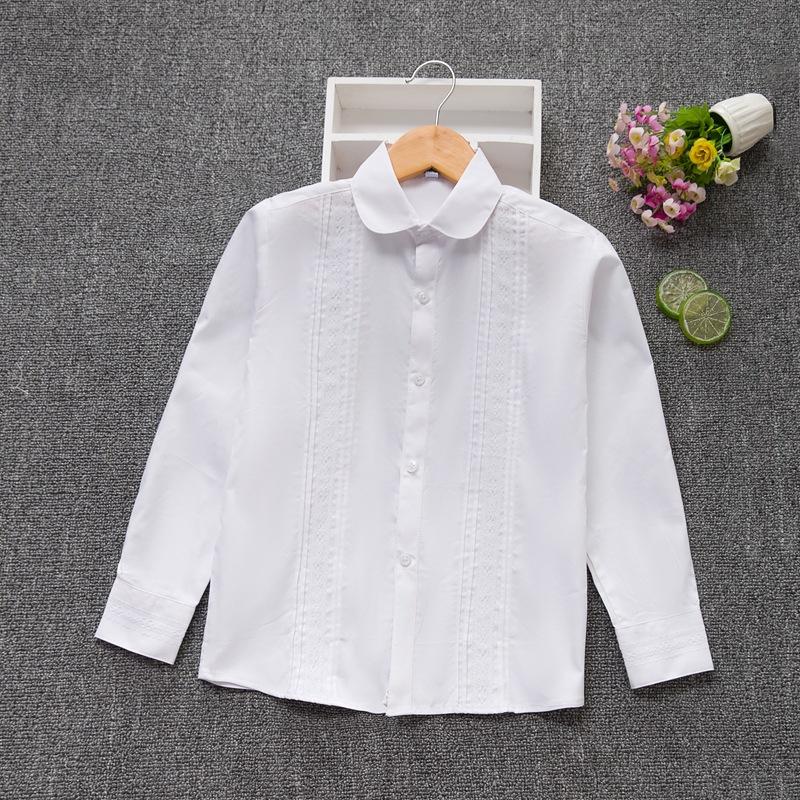 Áo Sơ-mi trẻ em 2019 ren quần áo trẻ em mới bé gái áo dài tay cotton Hàn Quốc áo sơ mi trắng trẻ em