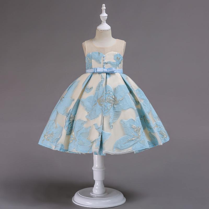CARISA Trang phục dạ hôi trẻ em Kelly mới xù váy trẻ em mùa hè công chúa váy lưới sợi vai phồng váy