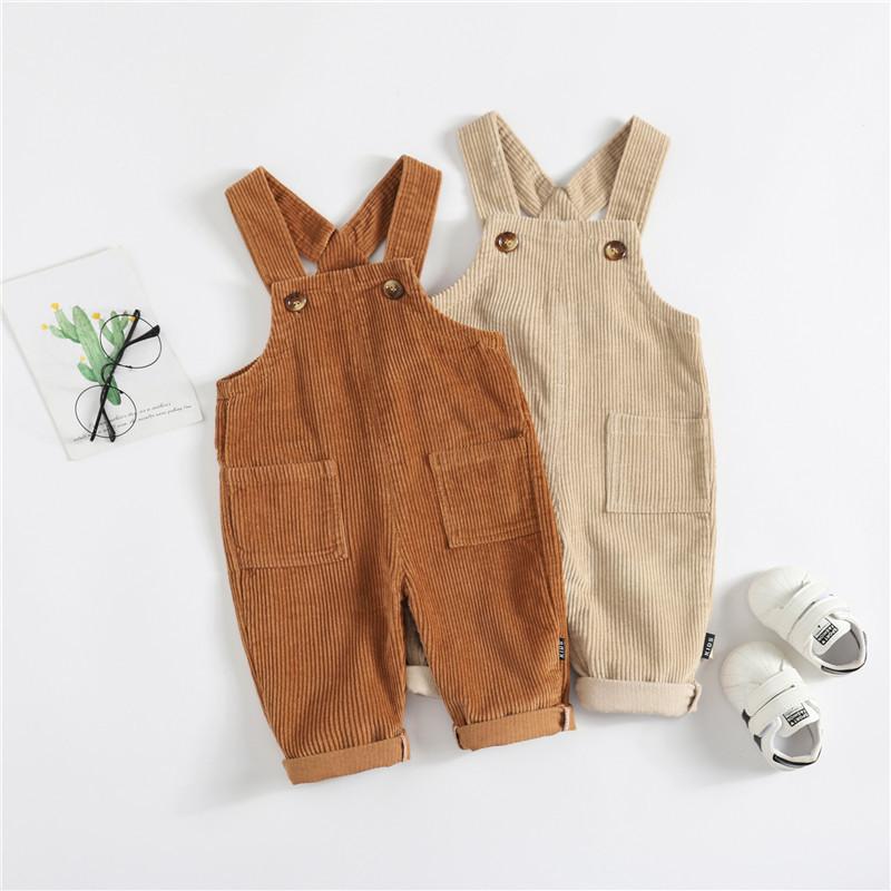 GLXK Quần trẻ em vừa và nhỏ Quần nhung kẻ sọc quần nam và nữ bé mùa xuân và mùa thu đôi túi quần yếm