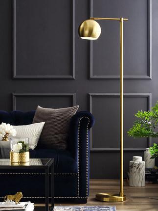 Đèn âm đất  Trên sàn đèn sàn phòng khách Phòng ngủ Bắc Âu ánh sáng sang trọng màu đồng thau đơn giả