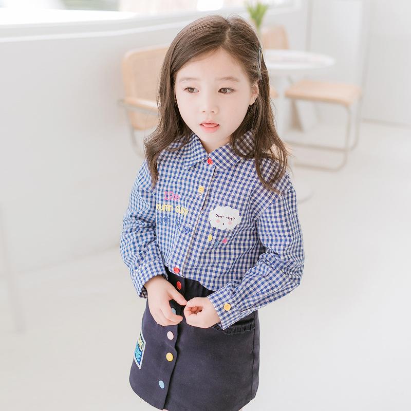 Cicie Áo Sơ-mi trẻ em Áo sơ mi kẻ sọc cho bé gái 2020 mùa xuân và mùa thu mới quần áo trẻ em tay dài