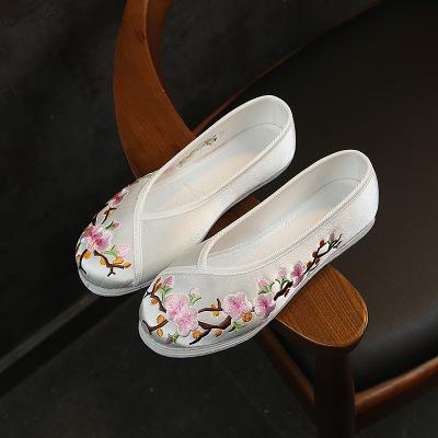 MHDT Giày cô dâu Một thế hệ của giày cưới thêu bông lớn màu đỏ retro nguyên chất với đế đỏ