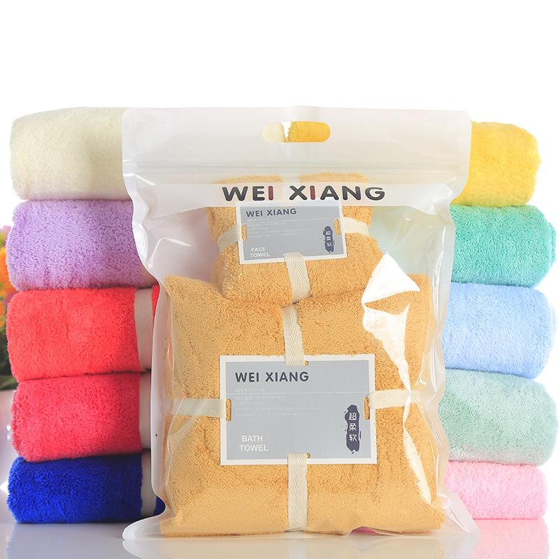 WEIXIANG Thị trường khăn [Khăn + khăn tắm] Người lớn và trẻ em thích thấm nước mềm hơn bông nguyên c