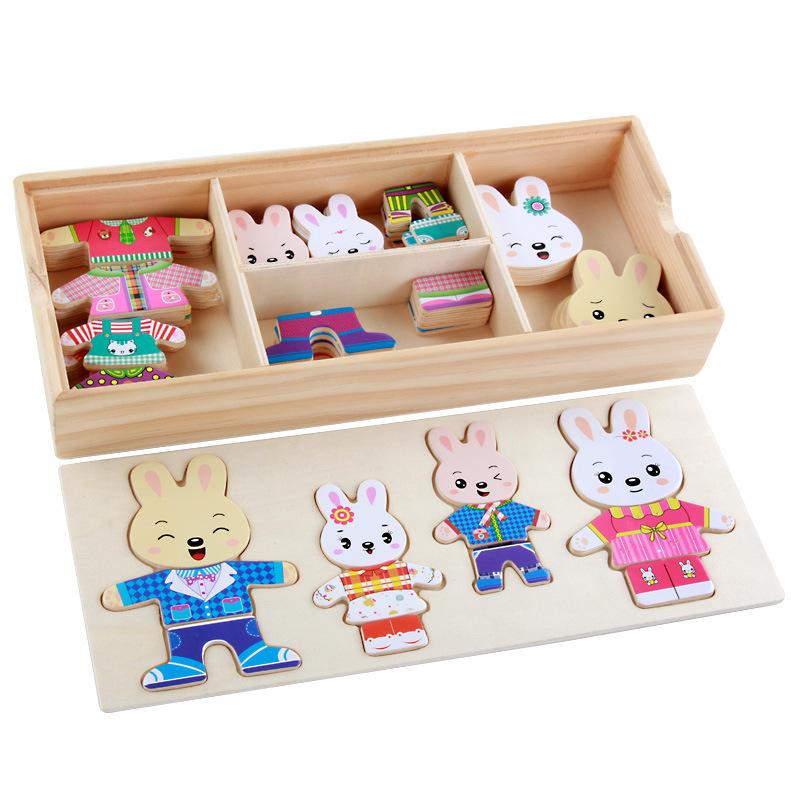 JIQINGNIAO Xếp hình 3D bằng gỗ Bốn chú gấu nhỏ thay quần áo và mặc quần áo xếp hình