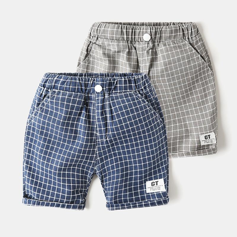 WAPYPY Trang phục trẻ em mùa hè Quần áo trẻ em quần mùa hè bé trai bán buôn quần năm điểm quần kẻ sọ