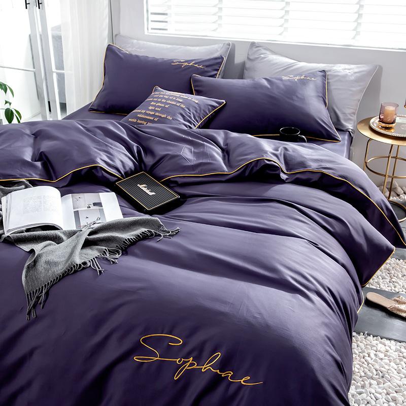 MANYANYU Bộ drap giường Bông đơn giản 60s cotton dài chủ yếu cotton bốn chữ thêu hoa màu rắn giường