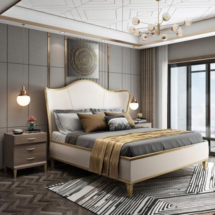 DKG giường  Ý nhẹ sang trọng giường gỗ rắn Giường Mỹ da đôi giường Pháp lưới đỏ mềm giường hiện đại