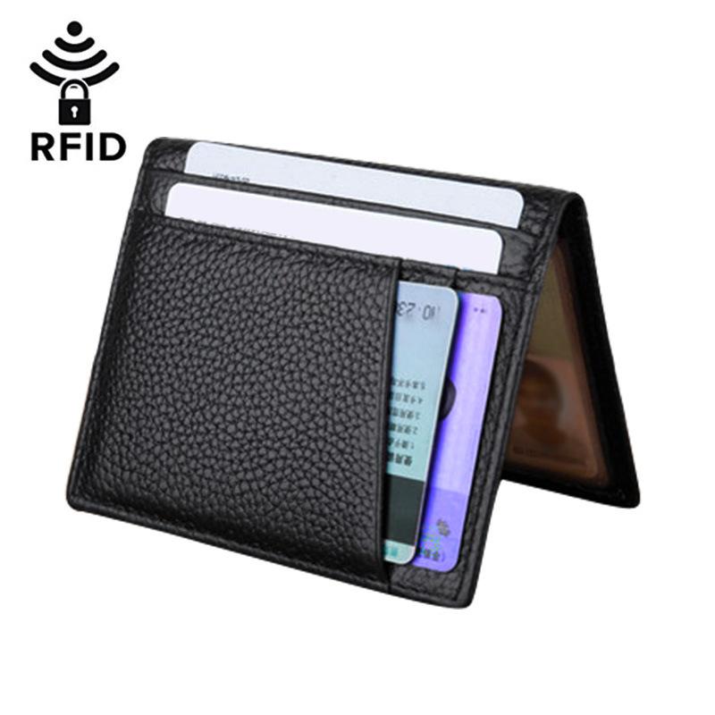 Ví đựng thẻ Nhà máy sản xuất trực tiếp lớp da bò RFID siêu mỏng chống thẻ từ gói đa thẻ da chứng chỉ