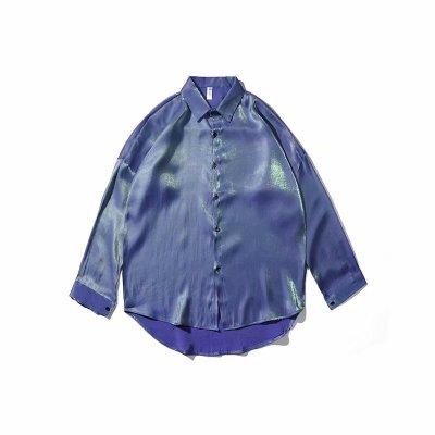 Áo Sơmi Mùa xuân hè sơ mi áo sơ mi mỏng kiểu Hồng Kông xu hướng áo khoác lụa tơ tằm rộng tay hoang d