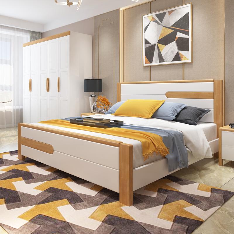 HKMF Giường gỗ rắn Bắc Âu đơn giản hiện đại căn hộ nhỏ 1,5m1,8 m giường đôi chính phòng ngủ lưu trữ