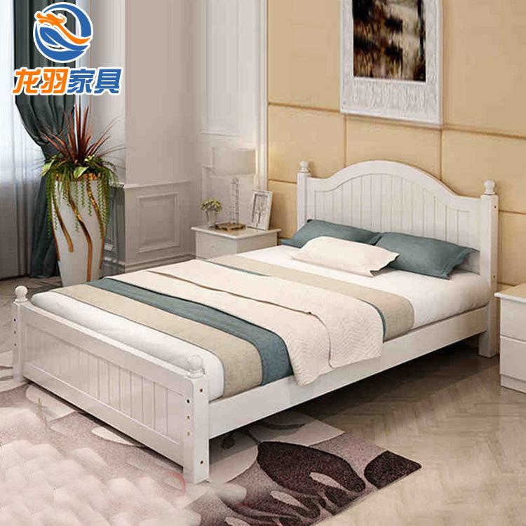 LONGYU giường Nhà máy sản xuất giường gỗ nguyên khối đơn giản 1,8 m giường đôi 1,5 m Công chúa châu