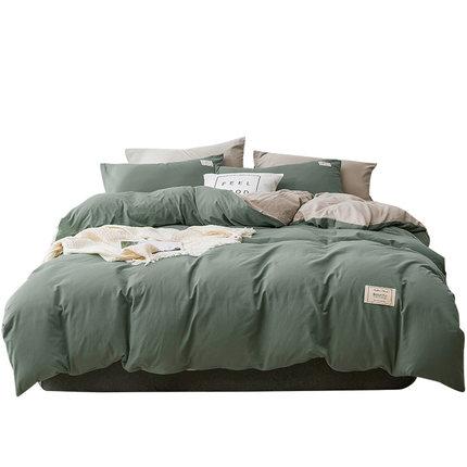 NANJIREN Bộ drap giường  Nhung Bắc Cực phong cách Bắc Âu bốn mảnh có thể giặt chăn bao gồm lưới màu
