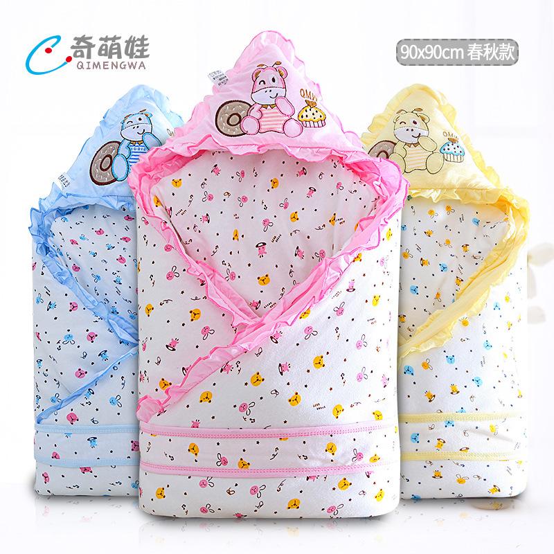 QIMENGWA Khăn quấn Em bé chăn sơ sinh chăn bông khăn bé chăn mỏng túi ngủ em bé sơ sinh cung cấp mùa