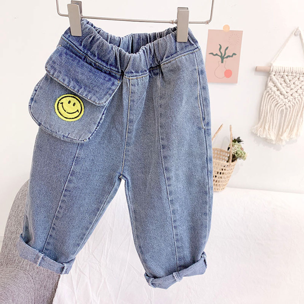 JWBB Quần trẻ em Chàng trai và cô gái 2020 mùa xuân quần áo trẻ em mới, quần jean mặt cười trẻ em, q