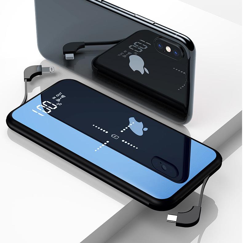 Pin sạc dự bị Gương kỹ thuật số Hiển thị sạc không dây Po 10000mAh Nguồn quà tặng của nhà máy Tùy ch