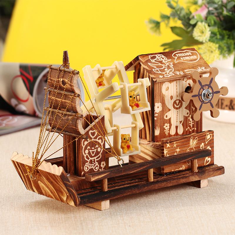 YUZHEN Đồ trang trí bằng gỗ 60-273 Nhà gỗ Cối xay gió Thuyền quay Hộp âm nhạc Trang trí nội thất Sán