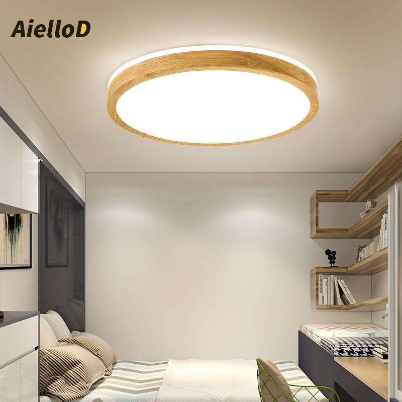 QICHU đèn ốp trần Đèn led ốp gỗ siêu mỏng, phòng ngủ Bắc Âu đơn giản hiện đại kiểu Nhật ban đầu bằng