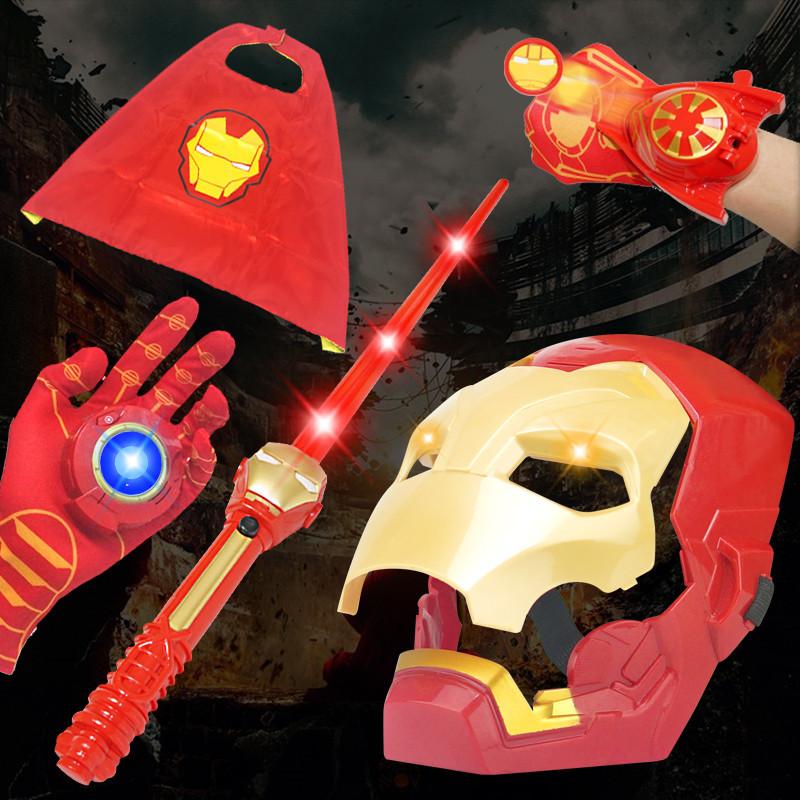 BAIQIBAO Đồ chơi phát sáng Giáng sinh Halloween Đồ chơi Mặt nạ thép Người đàn ông Phát sáng Thanh ki