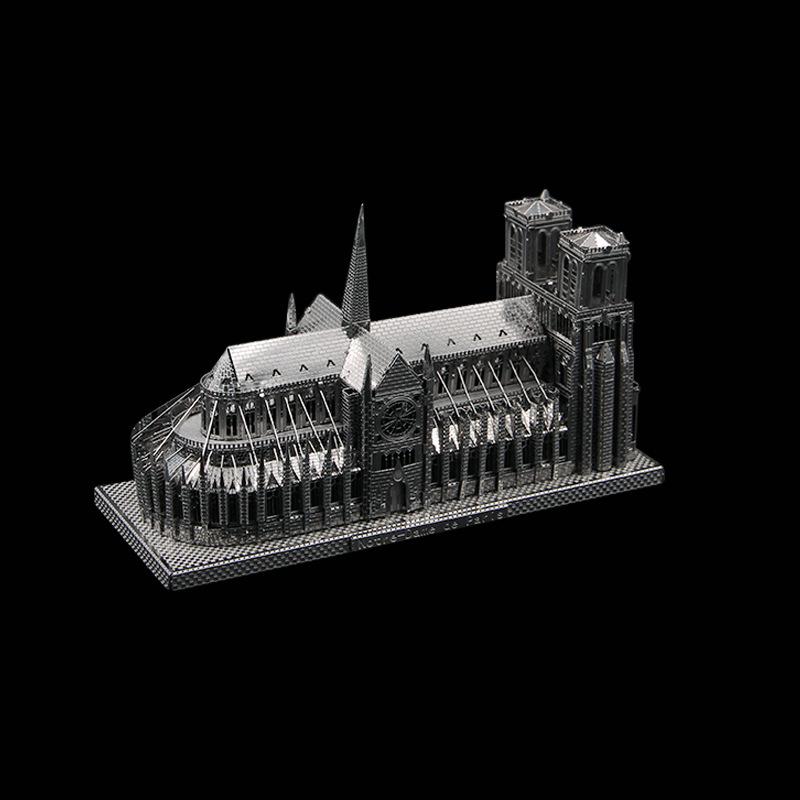 LONGGAN Tranh xếp hình 3D 3D mô hình câu đố ba chiều kim loại thủ công DIY Nhà thờ Đức Bà lắp ráp câ