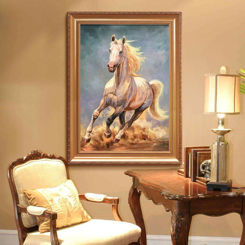 JCTY Tranh thêu chữ thập Ngựa châu Âu 5d kim cương đầy đủ kim cương hiện đại tối giản phòng khách nh